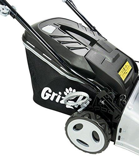 Grizzly-Benzin-Rasenmher-4-Takt-Motor-robustes-Stahlgehuse-360-Grad-bewegliche-Vorderrder-zentrale-Hhenverstellung-Wasserschlauchanschluss-fr-bequeme-Reinigung-inkl-Abdeckhaube-und-Kinder-Rasenmher