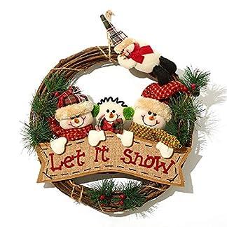 XONOR-Weihnachtskranz-fr-Haustr-35cm-Trkrnze-Weihnachtshaus-Tr-Kleiderbgel-Wand-Auto-Dekoration-DREI-Schneemann-Lass-es-schneien