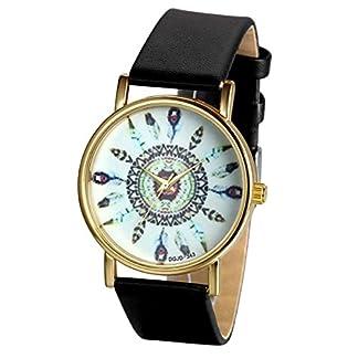 JewelryWe-Damen-Armbanduhr-Charm-Casual-Analog-Quarz-Leder-Armband-Uhr-mit-Einzigartig-Indischem-Stammem-Zifferblatt-3-Farben