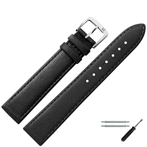 MARBURGER-Uhrenarmband-22mm-Leder-Schwarz-Uhrband-Set-7592210000120