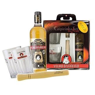 Caipi-Set-VELHO-BARREIRO-Gold-I-Fl-CachacaStampfer2-GlserGeschenkverpackung-Caipirinha-Bundel