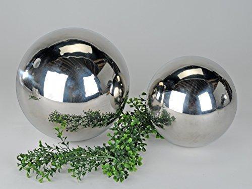 4-Stck-Deko-Kugeln-silber-aus-Edelstahl-Durchmesser-10-cm