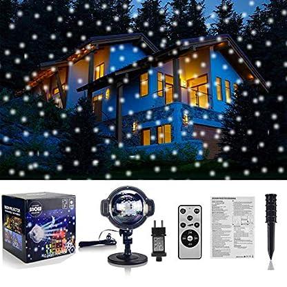 LED-Projektionslampe-LED-Projektor-Schneeflocke-Weihnachtsdeko-im-Garten