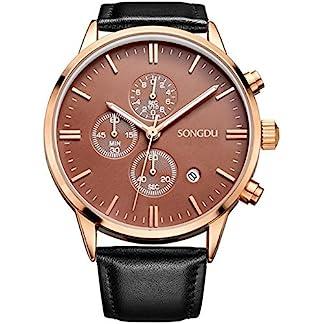 Binger-Herren-Armbanduhr-Quarz-Gold-Legierung-Fall-Schwarz-Pin-Schnalle-Lederband-braun-Zifferblatt-Teller