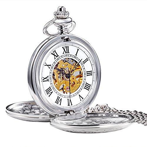 TREEWETO-Retro-Silber-Mechanische-Taschenuhr-glnzend-doppelt-ffnen-Design-Skelett-Uhr-Rmische-Ziffern-Taschenuhren
