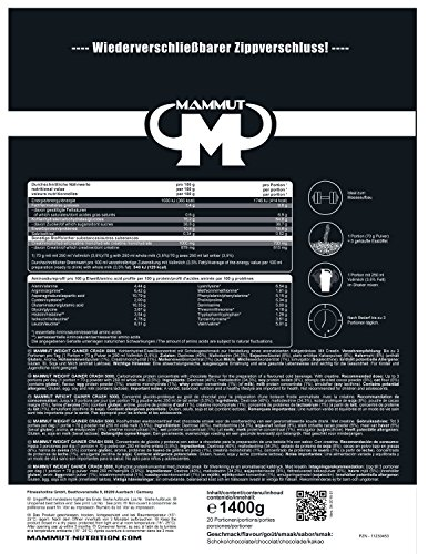 Mammut – Weight Gainer Crash 5000 Schoko Kohlenhydrate Masseaufbau Kreatin, 1400 g Beutel