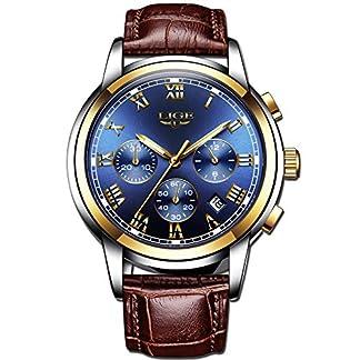 LIGE-Herrenuhr-Mode-wasserdicht-Analog-Quarz-Sport-Casual-Uhr-Brown-Leder-Strap-DatumKalender-Business-Armbanduhren