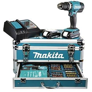 Makita-BHP453RHX2-Akku-Schlagbohrschrauber-im-Alu-Koffer-inkl-Zubehr-Bitset-Bohrerset-18-V-Li13-Ah