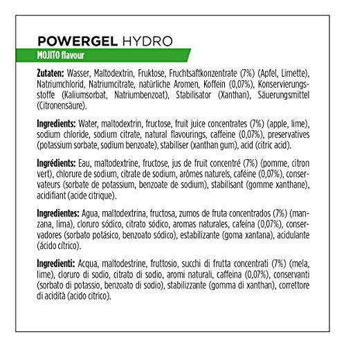 PowerBar Power Gel Hydro mit Kohlenhydraten, Maltodextrin & Natrium – Energie Gels – Vegan – Trinkbar ohne Wasser – 50 mg Koffein – Mojito, 24 x 67 ml