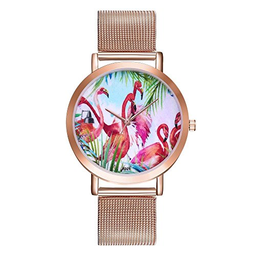 Souarts-Damen-Armbanduhr-Einfach-Mesh-Metallarmband-Casual-Analoge-Quarz-Wasserdicht-Uhr-Rosegold