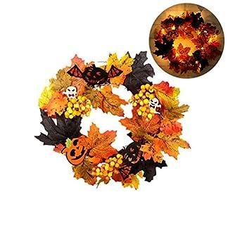 Ysoom-Halloween-Thanksgiving-Weihnachts-Ahornblatt-dekorativer-Kranz-mit-20-LED-Bltter-Krbis-Fledermuse-und-Ahornblatt-Kranz-fr-Haustr-oder-Indoor-Herbstdeko