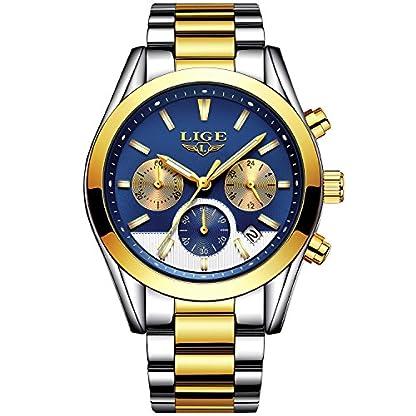Dayllon-Herren-Uhr-Analog-Quarz-Chronograph-Wasserdicht-mit-Edelstahl-Armband