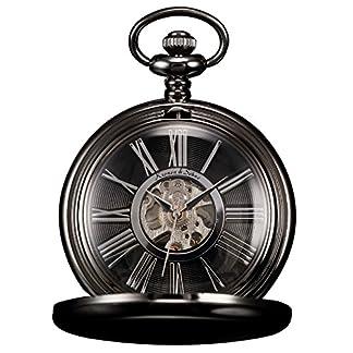 KS-Taschenuhr-mit-Kette-Herren-antik-Schwarz-Mechanisch-Skelett-Analog-Vintage-Geschenkbox-KSP035