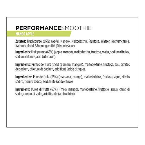 PowerBar Performance Smoothie aus Fruchtpüree – Mit Kohlenhydraten, Maltodextrin & Natrium – Energie Gels ohne Konservierungsstoffe – Vegan, Mango Apple, (16 x 90g)