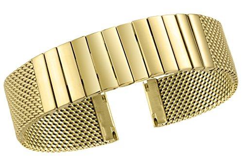 22mm-Premium-Herren-Mesh-Uhrenarmband-Armband-metallic-Milanese-in-Gold-massiv-316l-Edelstahl