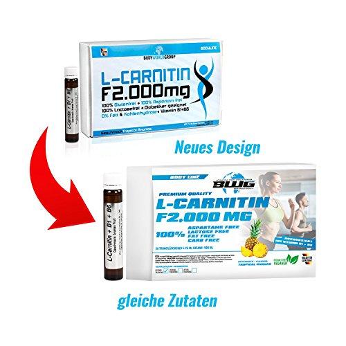 BWG L-Carnitin F 2000 mg, hochdosiertes L-Carnitin Liquid, vegan, ohne Gluten und Laktose, Body Line, 20 Trinkfläschchen a' 25 ml (500 ml Packung)