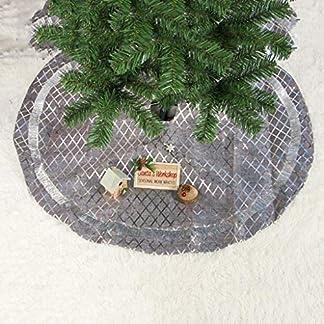 Weihnachtsplsch-Baum-Rock-90CM-silberner-karierter-Weihnachtsbaum-Kleid-Ausgangsdekor-Partei-Dekorationen