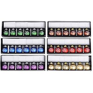 36-Tischkartenhalter-Weihnachtskugel-mit-Tischkarte-Glas-Kugel–4-cm-Weihnachten-Schneeflocke-in-6-Farben