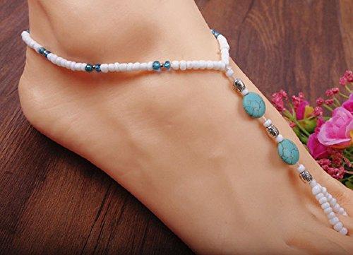 Malloom® Frauen Türkis Perlen Strecken Barfuß Sandelholz Fußschmuck Fußkettchenkette