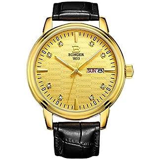 Binger-Herren-Armbanduhr-Quarz-Gold-Watch-Fall-Schwarz-Lederband