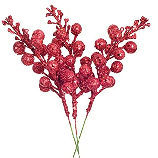 YQing-14-Stck-Knstlich-Rote-Beeren-Weihnachten-Picks-198cm-Zweig-Beeren-Deko-fr-Christbaumschmuck-DIY-Weihnachtskranz-Kunsthandwerk-Urlaub-und-Wohnkultur-Rot