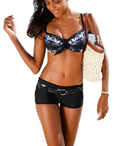 AHOOME Damen Bademode Bikini-Sets Push-up Gepolstert Drucken Mit Shorts
