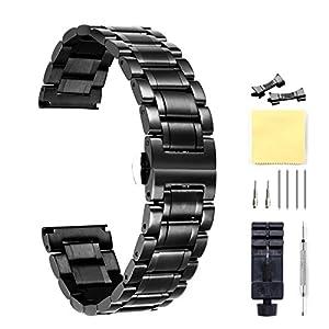 Edelstahl-UhrenarmbandMetallarmband-fr-Herren-Damen-mit-geraden-und-gebogenen-Ende-GoldSilberSchwarzRosgoldZwei-Ton-12mm14mm16mm18mm19mm20mm21mm22mm24mm