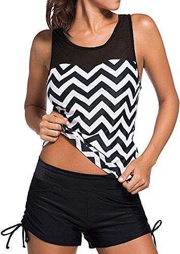 TDOLAH Damen Mesh Bikini-Set Push up Tankini mit Hotpants verstellbare Bände Boyshorts Badeshorts