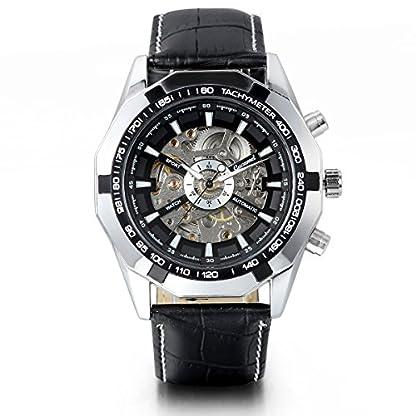 JewelryWe-2PCS-Herren-Armbanduhr-Analog-Quarz-Fashion-Business-Casual-Handaufzug-mechanische-Uhr-mit-Edelstahl-Leder-Armband-Schwarz-Bezel-Skelett-Zifferblatt