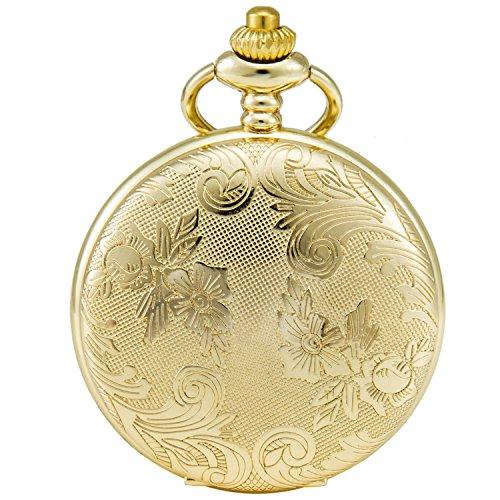 SEWOR-Blumen-Fall-Shell-Zifferblatt-Japanisches-Quarz-Uhrwerk-Taschenuhr-mit-Fashion-Double-Kette-Metall-Leder