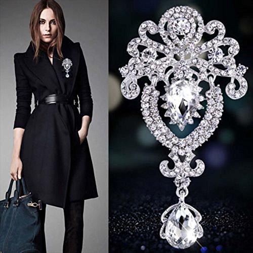 Contever® Upscale Krone Stil Silber-Ton Kristall Strass Brosche Anstecknadeln Mode Korsage Broschen Kleidung Schmuck Zubehör