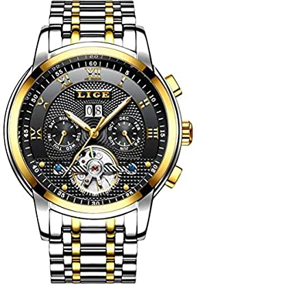 LIGE-Herren-Uhr-Analog-Automatik-mit-Edelstahl-Armband-9841