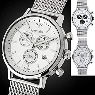 Gigandet-Herren-Uhren-Chronograph-Analog-Milanaisearmband-Quarz-Silber-Wei-Schwarz