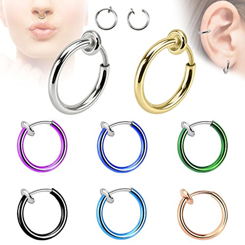 Fake Piercing Titan anodized Clip-On Septum- Nasen- Ohrring Ring 1,6 x 10 mm Farbwahl