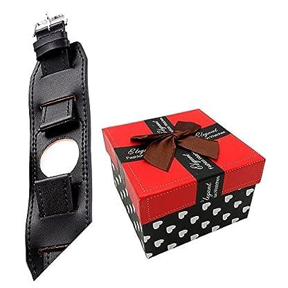 22mm-Uhrenarmband-Herren-Damen-Uhrband-Ersatzuhr-Lederarmband-Ersatz-Armbanduhr-Uhren-Zubehr-Watch-Band-Braun-Schwarz