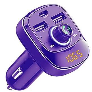 Cocoda-Bluetooth-FM-Transmitter-frs-Auto-Drahtlosen-FM-Radio-Transmitter-Adapter-Car-Kit-mit-Freisprechfunktion-Dual-USB-und-Type-C-Ladeanschlssen-Musik-Player-Untersttzt-USB-Stick-TF-Karte