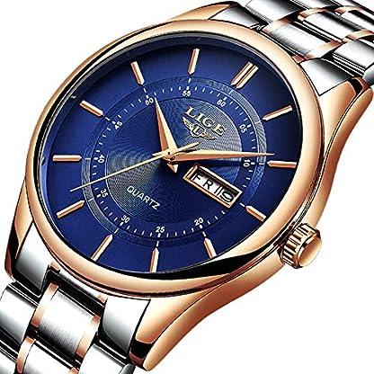Uhren-fr-HerrenLIGE-Edelstahl-Wasserdicht-Sport-Analog-Quarz-Uhr-Ziffern-Zifferblatt-Datum-Business-Casual-Luxus-Armbanduhr-Rose-Gold-Blau