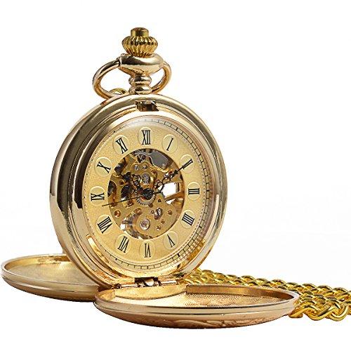 ManChDa-Jahrgang-Champagne-Gold-Taschenuhr-fr-Mnner-Frauen-Gravierte-Doppel-Hunter-Skelett-mechanisch-Goldene-Bewegung-Rmische-Ziffern-mit-Kette-Geschenk-Box