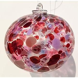 Kugel-zum-hngen-bunte-Glaskugel-Ornament-rot-bunt-Fensterdekoration-mundgeblasenes-Kristallglas-Durchmesser-ca9-cm-Oberstdorfer-Glashtte