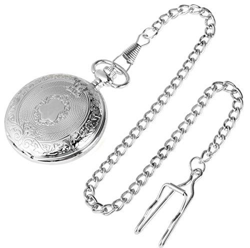 Excellanc-Analog-Taschenuhr-mit-Quarzwerk-Wappen-480422000004-Silberfarbiges-Gehuse-im-Mae-48mm-x-17mm-mit-Ziffernblattfarbe-Wei-und-Mineralglas