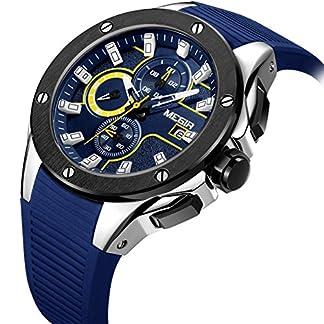 Modische-Herren-Uhren-Analoge-Quarz-Chronograph-wasserdicht-Runway-mit-Gummi-Silber-Sport-Armbanduhr-mit-Datum-Display