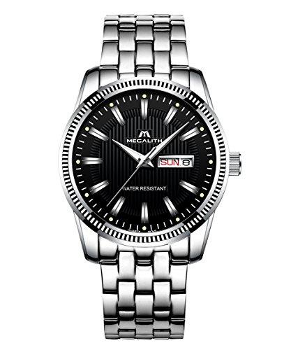 Herren-Uhren-Edelstahl-Mnner-Wasserdicht-Datum-Kalender-Sport-Luxus-Analog-Quarz-Mode-Kleid-Armbanduhr-Geschfts-Beilufig-Einfach-Design-Dnn-Uhr-mit-Schwarz-Zifferblatt-Silber-Uhrenarmband