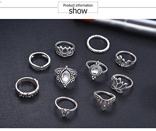 AMDXD 10 Stücks Midi Ring Damen Zirkonia Elefant Lotos Blume Vintage Silber Ringe Set Boho