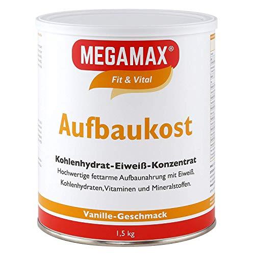 MEGAMAX Aufbaukost Vanille 1.5 kg | Ideal zur Kräftigung und bei Untergewicht | Proteinpulver zur Zubereitung eines fettarmen Kohlenhydrat-Eiweiß-Getränkes für Muskelmasse & Muskelaufbau