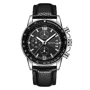 Herren-Uhren-Leder-Analog-Quarzuhr-fr-Mnner-Date-Business-Fashion-Dress-Armbanduhr-Herren-Sportuhr-Chronograph-Schwarz-Uhr