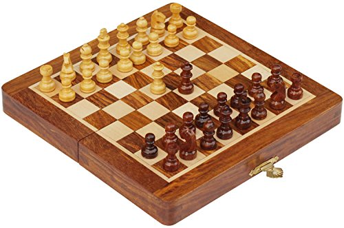 Schachspiel-Ultimatives-1778×1778-cm-Klassisches-Holz-Reise-Schach-mit-Magnet-Staunton-Figuren-und-klappbares-Spielbrett-Handgefertigt-von-Handwerkern-in-feines-Rosenholz-mit-einem-Walnuss-Finish