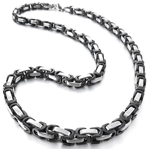 MunkiMix 5mm Edelstahl Halskette Königskette Kette Link Silber Ton Schwarz Herren