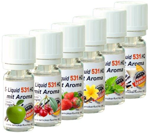 6x 10ml E-Liquid No. 531 HQ 6er Mix -Deutsche Produktion- Apfel, Vanille, Kirsche, PinaColada, Erdbeere, Minze – 0,0mg Nikotin –