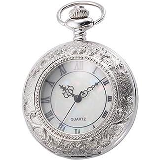 EASTPOLE-Unisex-Silber-Taschenuhr-Quarzuhr-Elegant-Uhr-mit-Kette-und-EASTPOLE-Geschenkbox-WPK180