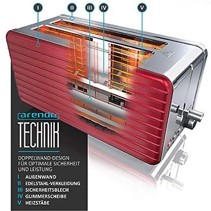 Arendo-Automatik-Toaster-Langschlitz-4-Scheiben-Defrost-Funktion-wrmeisolierendes-Gehuse